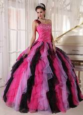 Single One Shoulder Ruffles Skirt Contrast Color Quinceanera Dress