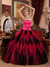 Black and Deep Pink Cascade Girl Quinceanera Dress For Cheap