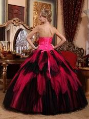 Black and Deep Pink Cascade Girl Quinceanera Dress For Cheap