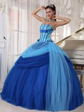 Sky Blue And Dark Blue Puffy Skirt Quinceanera Prom Dress