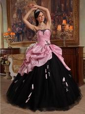 2014 New Arriving Pink Quinceanera With Black Applique