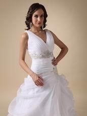 V-neck Ruffles Skirt Elegant White Organza Bride Wear First Half Year