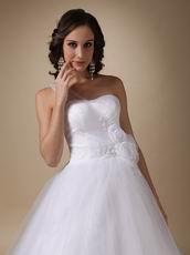 Cheap Puffy Wedding Dress With Handmade Flowers Bottom