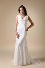 Fashionable V-neck Column Lace Wedding Bridal Dress Shop