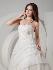Appliqued Sweetheart A-line Silhouette Ivory Organza Wedding Dress