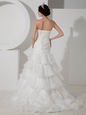 Strapless Mermaid Ruffled Skirt Wedding Dress With Applique