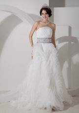 Discount Rolled Tulle Fabric Flowers Skirt Wedding Dress Strores