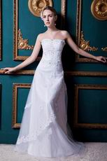 Romantic Sweetheart Applique Dropped White Bridal Wedding Gown