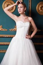 Simple Sweetheart A-line Floor Length Ivory Tulle Bridal Dress