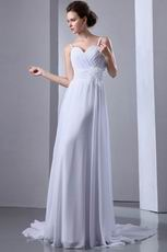Spaghetti Straps Ruched Feather White Chiffon Casual Wedding Dress