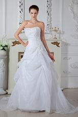 Unique Appliques White Princess Wedding Dress With Chapel Train