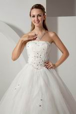 Cheap Strapless Appliques Crystal Cathedral Ivory Bridal Dress