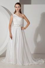 Casueal One Shoulder A-line Ivory Chiffon Bridal Dress Sample Sale