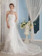 Wonderful Strapless Cathedral Train Wedding Dress With Appliques