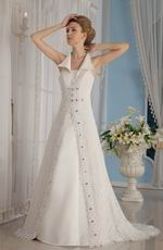 Formal A-Line V-Neck Lace Church Wedding Dress In Florida