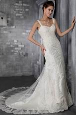 Mermaid Strap Court Train Lace Appliques Sexy Wedding Dress