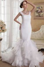 White Mermaid Straps Ruffles Bridal Gown For 2014 Bride
