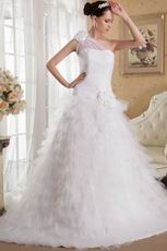 White A-line One Shoulder Ruffled Wedding Dress With Chapel Train