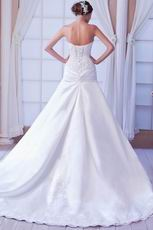 Cheap Sweetheart Neck Appliques Bodice A-line Skirt Bridal Gown