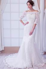Off Shoulder 3/4 Length Sleeves Ivory Mermaid Wedding Dress