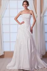 Fashional Strapless Applique Bodice Ivory Taffeta Wedding Dress