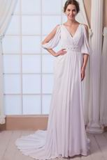 Noble V-Neck Sequin Bodice Ivoy Chiffon Wedding Gown Discount