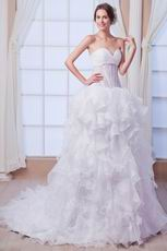 Sexy Sweetheart Neck Cascade Bodice Ruffled Skirt Bridal Dresses
