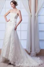 Glamorous Strapless Appliqued Ivory Chapel Lace Wedding Dress