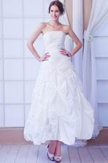 Glamorous Strapless Skirt White Taffeta Bridal Dress Beading Decorate