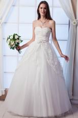 Beautiful Sweetheart Beaded Bodice Tulle Long Wedding Gown