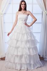 Elegant Strapless A-line Layers Skirt Bridal Dress With Crystal