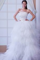 Romantic Beaded Bodice A-line Sweep Ivory Bridal Dress