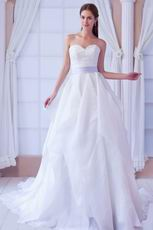Honorable Sweetheart White A-line Organza Dreamy Dress For Wedding Ceremony