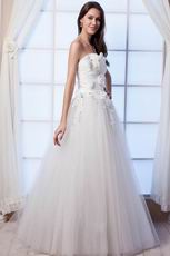 Elegant Strapless A-line Tulle Western Wedding Dresses With Flower
