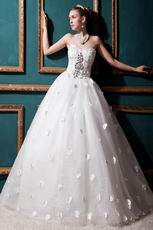 Romantic Crystals Appliques Corset Princess Wedding Dress Cheap
