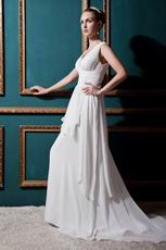 Handcrafted V-Neck Outdoor Cream Chiffon Wedding Gown