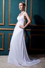 Elegant Straps Ruched Empire Court Cream Chiffon Bridal Dress