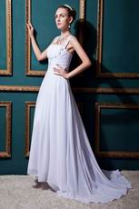Inexpensive Straps Square Zipper White Chiffon Bride Dress