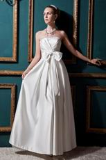 Simple Strapless Bow Aline Ivory Stain Church Wedding Dress For Sale