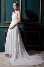 Inexpensive Square Beading Sequin Column Church Wedding Dress