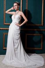 V-Shape Strapless Appliques Cream Garden Wedding Dress Factory