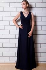 V Neck Design Navy Blue Chiffon Evening Celebrity Dress