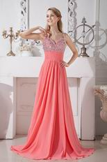 Cheap Beaded A-line Style Pink Chiffon Evening Dress