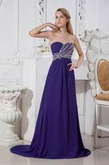 Slender Sweetheart Crystal Purple Chiffon Evening Dress Shop
