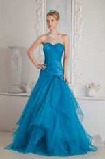 Cheap Aline Layers Floor Length Azure Evening Dress