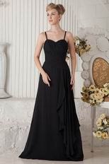 Affordable Spaghetti Straps Long Black Chiffon Evening Dress