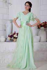 Best Seller V-Neck Lace Skirt Light Green Evening Dress