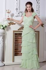V-Neck Layers Skirt Spring Green Chiffon Evening Dress