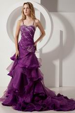 Backless Layers Grape Purple Spaghetti Straps Evening Dress Gown