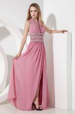 Cheap Halter Side Split Pink Skirt Long Evening Dress